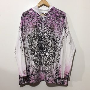 Fashion Bug Zip Up Sweater Floral 1X Bling Hoodie
